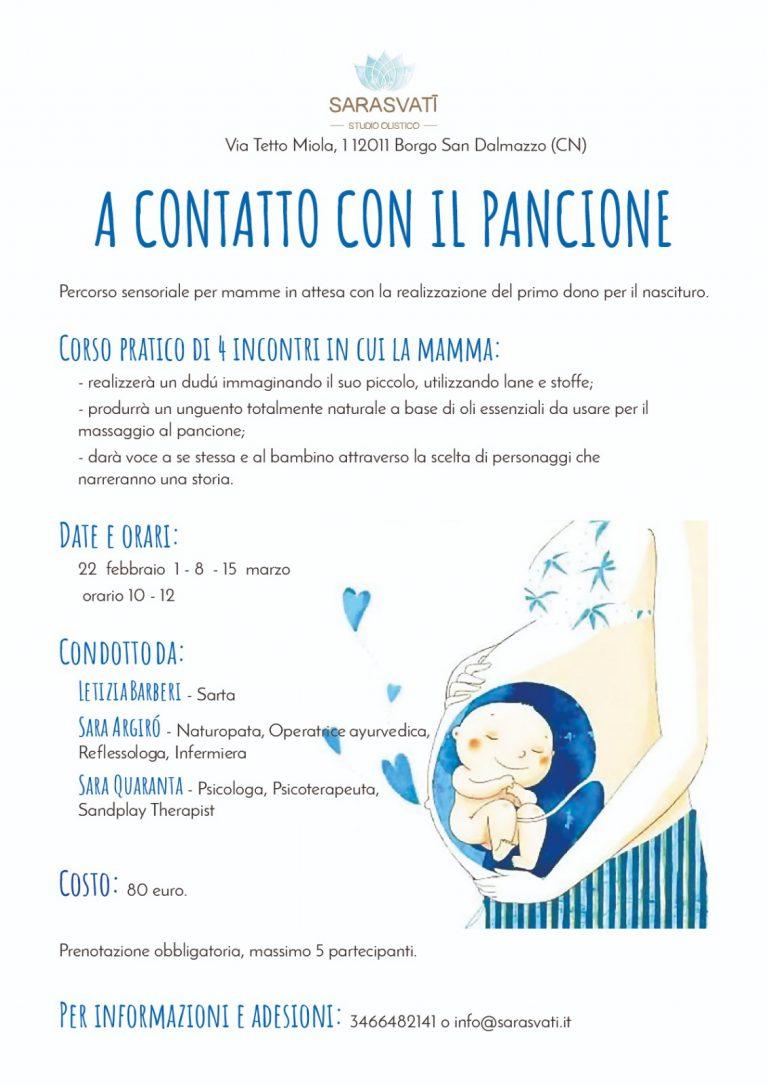 A CONTATTO COL PANCIONE – Percorso sensoriale per mamme in dolce attesa con la realizzazione del primo dono per il nascituro